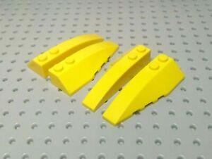 LEGO-Slope-Curved-Wedge-6x2-gauche-amp-droite-41747-amp-41748-Jaune-x2-paires