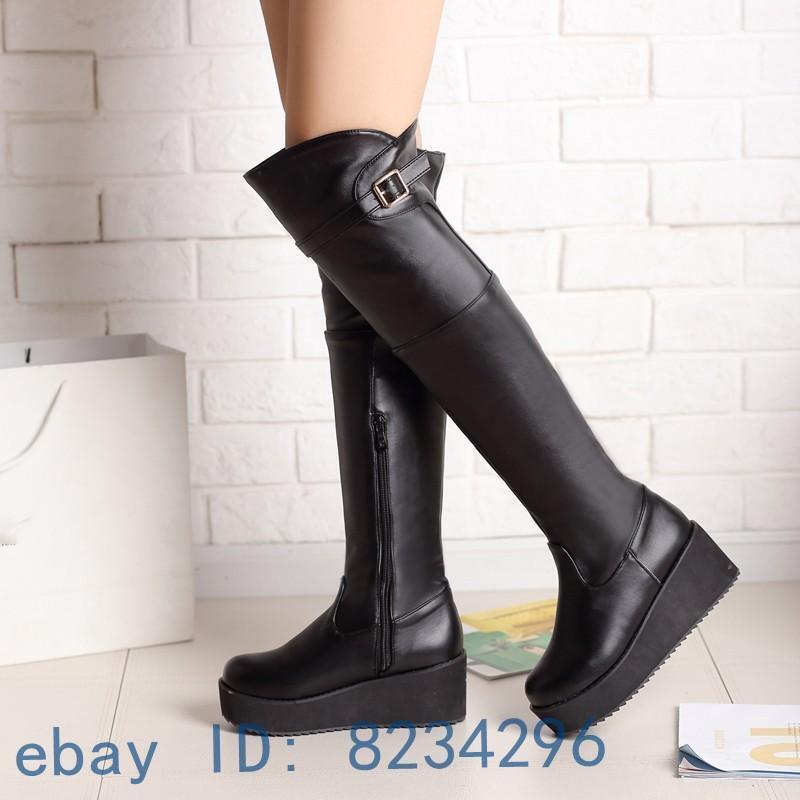 Wedge Heel Damen Overkneestiefel Freizeit Gürtelschnalle Mädchen Stiefel Schuhe
