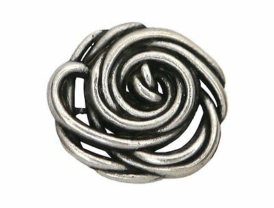 2 Wild Rose 1 inch ( 25 mm ) Metal Buttons Antique Silver Color