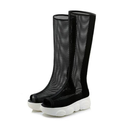 Women Gladiator Creeper Med Heel Mid Calf Boots Sandals Mesh Open Toe Casual D
