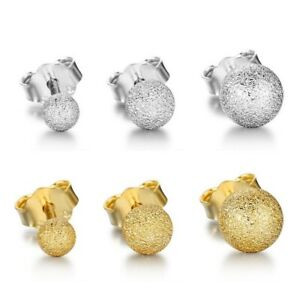 Kugel-Ball-Perlen-Ohrstecker-aus-925-Sterlingsilber-mattiert-silber-gold