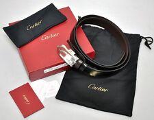 NEW Cartier Mans Leather C Decor Buckle Belt L5000152 Black/Brown Reversible