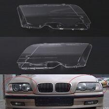 Pair L&R Headlight Headlamp Lense Clear Lens Cover For BMW E46 3 Series 1998-01