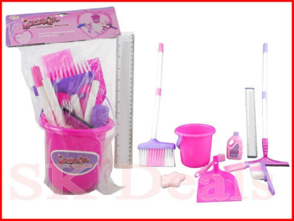9PC Girls Pink Purple  Cleaning Toy Play Set
