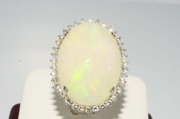 $27,000 28.39CT NATURAL ETHIOPIAN OPAL & DIAMOND COCKTAIL RING INCREDIBLE DESIGN