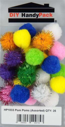 HP1033 Pack 25 DIY HandyPack Small Assorted Coloured Pom Poms