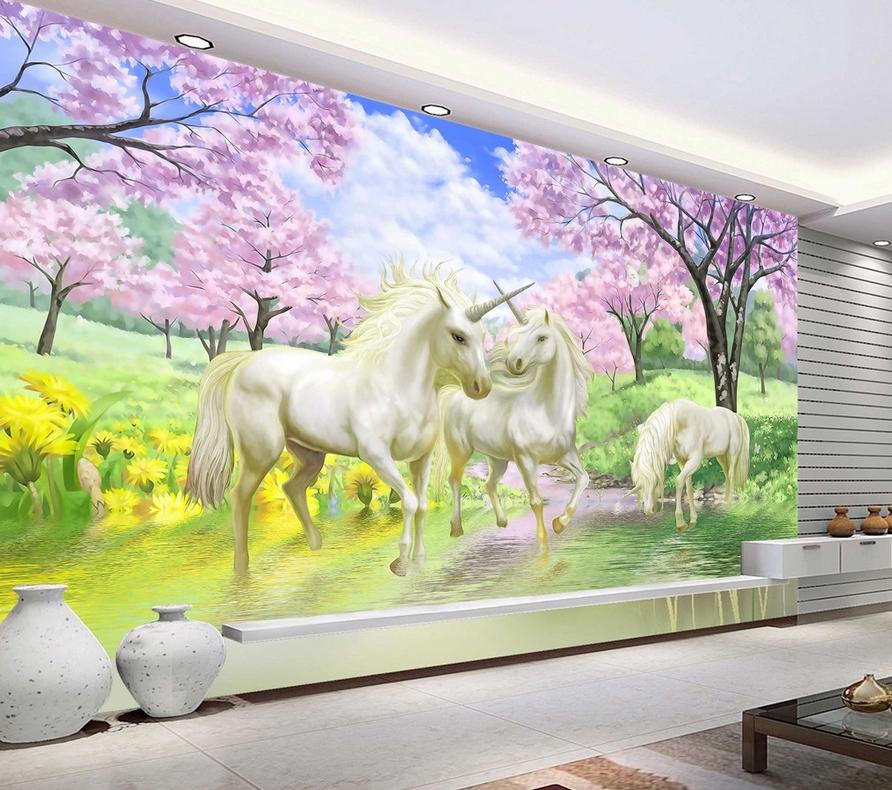 3D Flower Tree Unicorn Paper Wall Print Wall Decal Wall Deco Indoor Murals