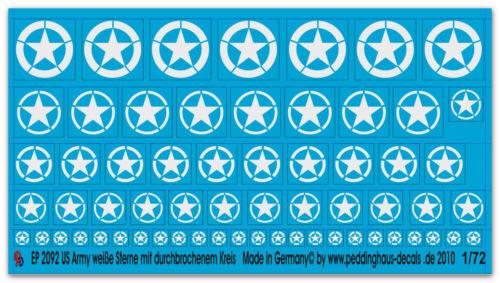 1//72 Ep 2092 Us Army Star Bianco con da Durchbrochenem Cerchio