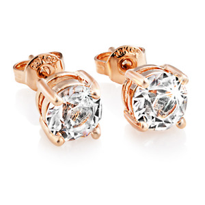 Rose Gold Round 6mm Earrings With Crystals From Swarovski