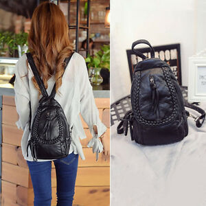 Faux-Leather-Convertible-Small-Mini-Backpack-Rucksack-Check-Pack-Sling-Bag-Purse