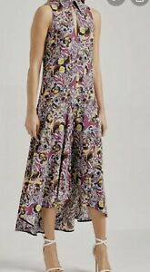 WOW-scanlan-theodore-CDC-Silk-hi-low-multi-colour-print-dress-BNWT-AU-6-US-2
