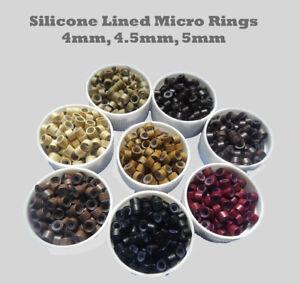Silicona-alineados-Micro-Anillos-Cuentas-Para-Palo-I-punta-extensiones-4-mm-4-5-mm-5-mm