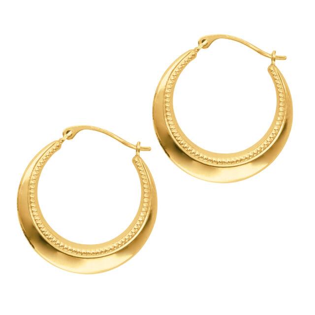 14k Yellow Gold Round Hoop Earrings Diameter 20mm