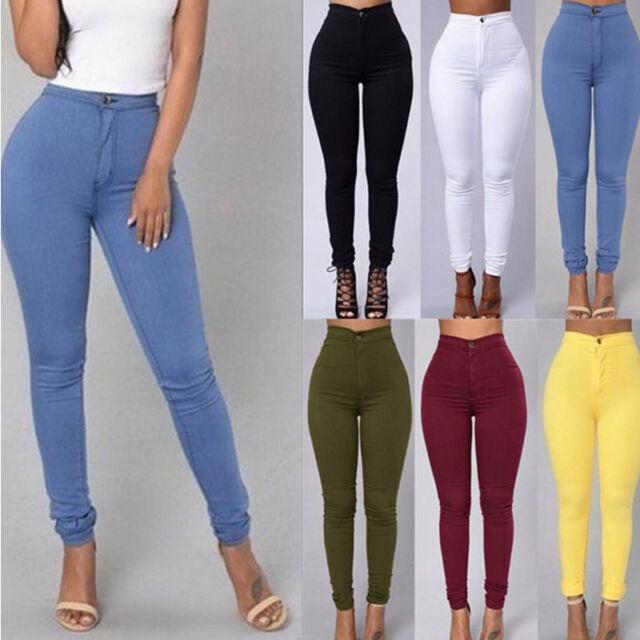 crayon Jeans pour femmes étiré décontracté pantalon skinny taille haute neufs
