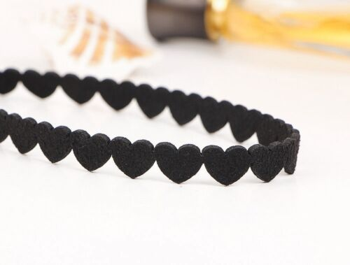 10x//Set Classical Heart Collar Simple Style Velvet Black Choker Jewelry Necklace