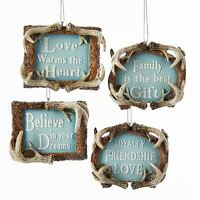 C7934 S/4 Antler Frame Word Sign Ornament Family Believe Love Loyalty Friendship