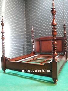 Image is loading Super-King-size-6-039-mahogany-Dutch-Style- & Super King size 6\u0027 mahogany Dutch Style Four poster designer canopy ...