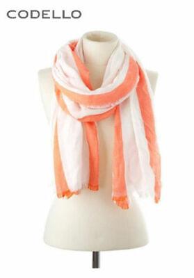 Schal Codello mit Fransen orange//weiß Ca NEU!! KP 49,95 € 200x70 cm