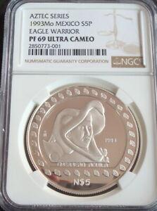 1993 Mexico Mo Rare $5P Silver NGC PF 69 Ultra Cameo EAGLE WARRIOR Uncirculated