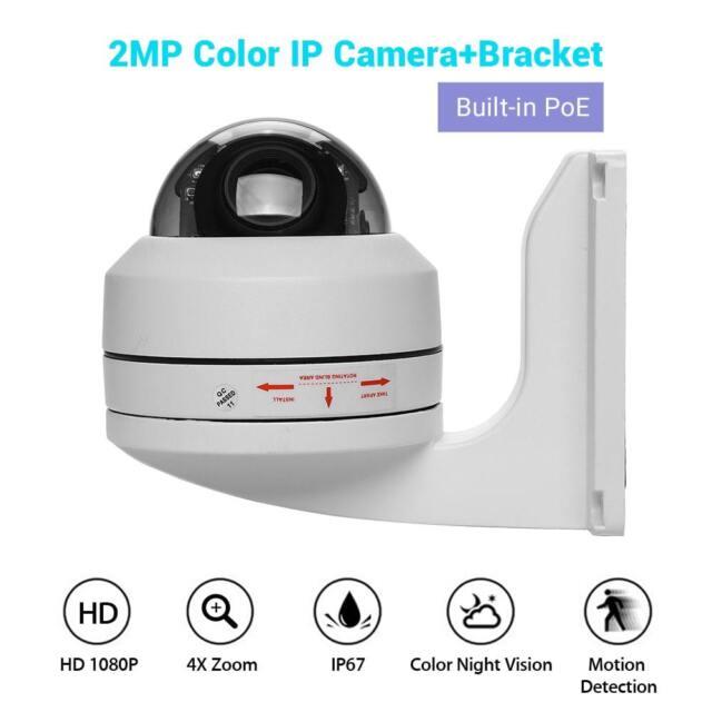 1080p Poe IP PTZ Camera Security Network ONVIF Wall Bracket IR Night Vision  P2p