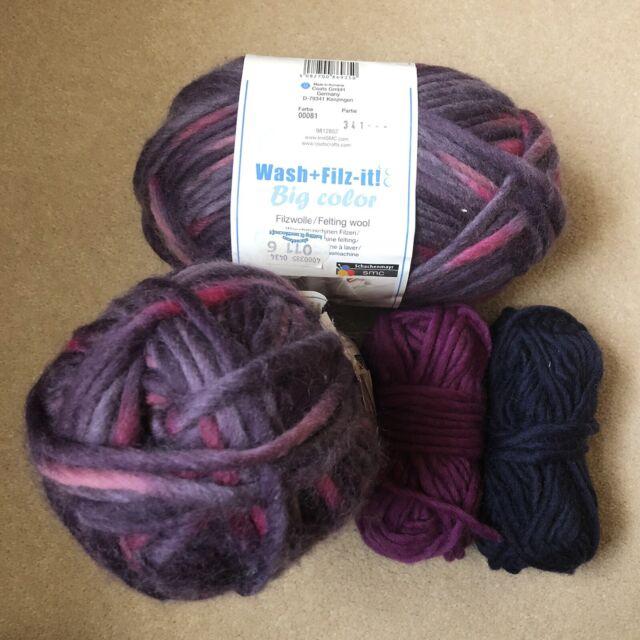 00018 VIOLET 50g Felting Knitting Yarn 100/% Wool Filz-It SMC Wash