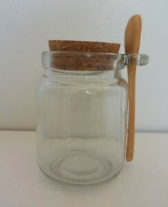 Glass Jar Cork Lid Wooden Spoon 8oz Crafts Storage ...