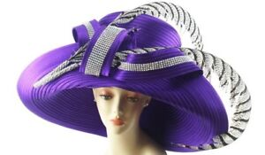 Details about NEW Charm NY Purple Wide Brim Feathers RHINESTONE HAT CHURCH  BLING COGIC DERBY