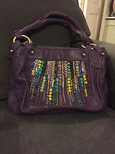 a293b5d43d Image is loading Matthew-Williamson-Purple-Beaded-Detail-Leather-Handbag