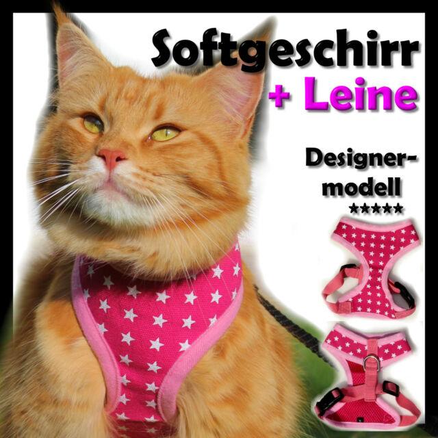 HOT PINK  Katzengeschirr Welpengeschirr Softgeschirr Meshgeschirr +  Leine NEU