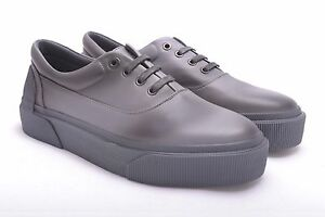 LANVIN-950-Authentic-New-Grey-Black-Spray-Paint-Leather-Oxford-Sneakers