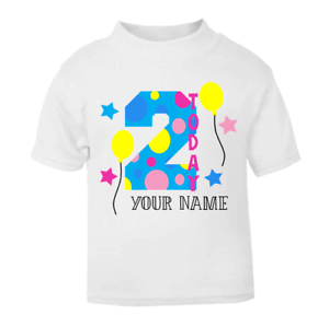 Image Is Loading Personalised 2 Today Children 039 S Birthday Top