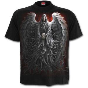 Spiral-Direct-DEATH-ROBE-T-Shirt-Reaper-Skulls-Wings-Metal-Biker-Top-Tee