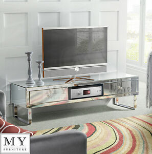 Mirrored Tv Cabinet Stand Media Unit For Flat Screen Tv