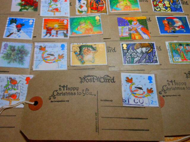 10 Handmade Unique Large Christmas Postcard Gift Tags Vintage Postage Stamp