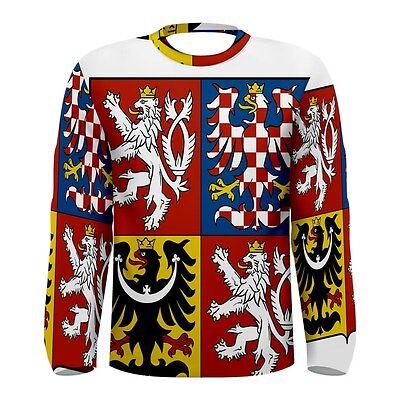 Czech Coat of Arms Sublimated Men's Long Sleeve T-Shirt S,M,L,XL,2XL,3XL