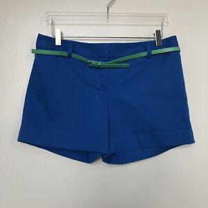 Express-Womens-Shorts-Blue-Belted-Cuffed-Straight-Leg-Flat-Front-Sateen-Size-8