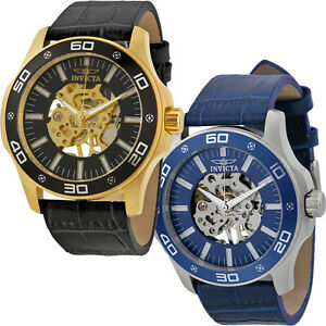 invicta specialty automatic skeleton mens leather watch image is loading invicta specialty automatic skeleton mens leather watch