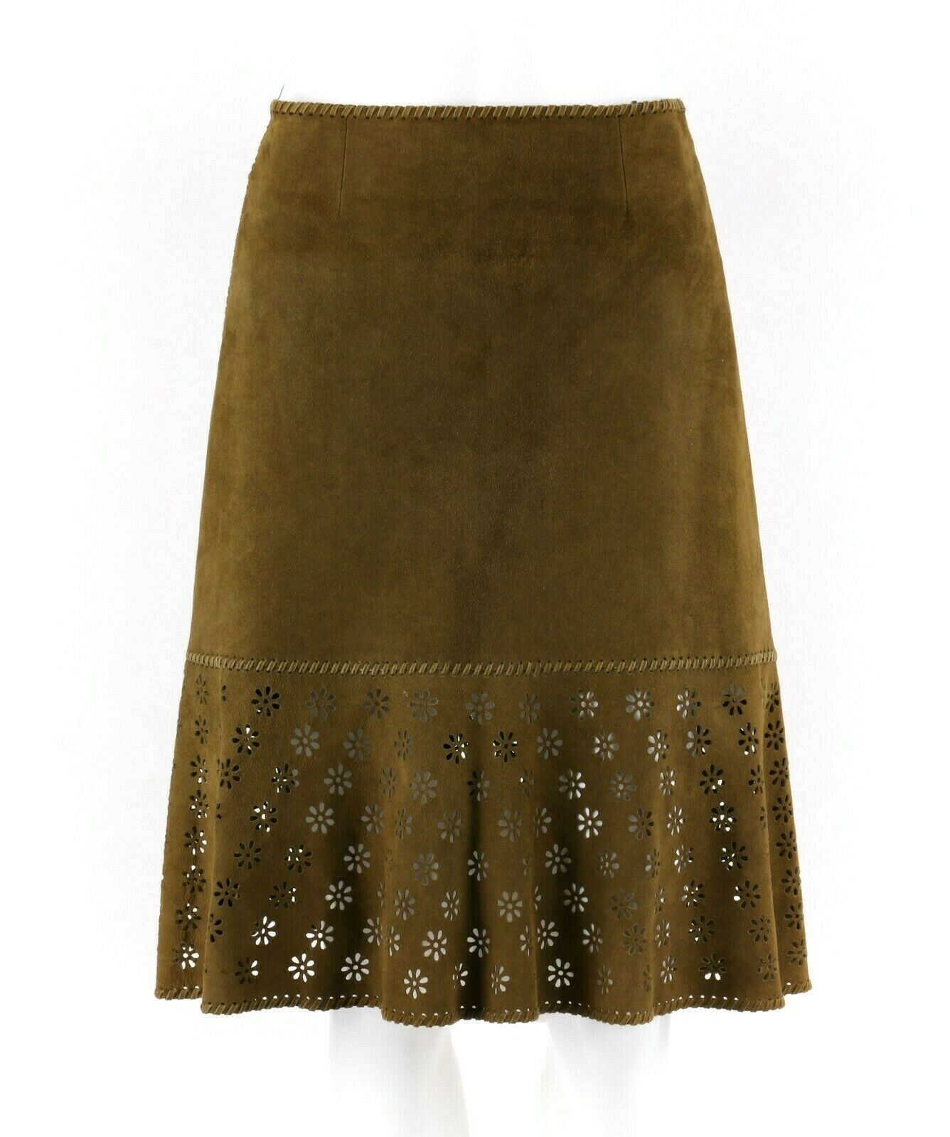 CELINE Finition Main Olive Green Suede Leather Floral Cut Work Skirt Size 36