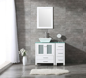 36 Square Ceramic Sink Bathroom Vanity Cabinet Solid Wood Modern