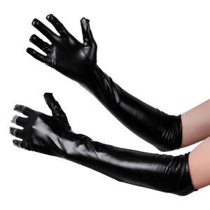 06f7a96c92ade3 Das Bild wird geladen Sexy-Frauen-Lackleder-Lange-Handschuhe-Party -Evening-Club-