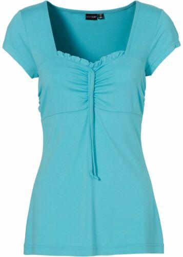 Damen Raffiniertes Shirt mit Rüschenkante,aqua,Gr.32//34,NEU