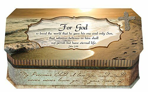 For God So Loved The World Footprints Belle Papier Design Jewelry Music Box