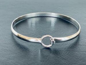 Genuine-925-Sterling-Silver-Bangle-Bracelet-Open-Circle-Women-Geometric-Solid
