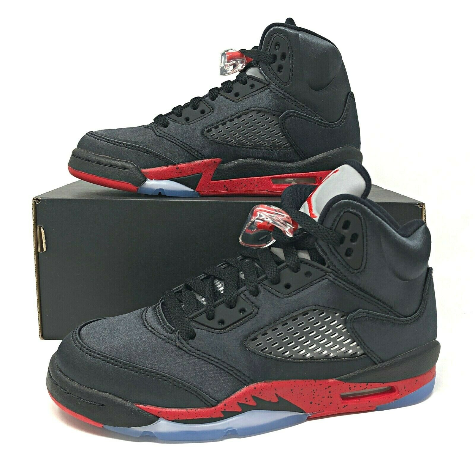 Air Jordan 5 Retro GS Satin Bred 2018 Black/red Kids Shoes Size 6y 440888 006