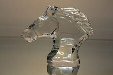 BACCARAT VINTAGE CRYSTAL CHEVAL HORSE HEAD BUST PAPERWEIGHT FRANCE ETCHED MINT