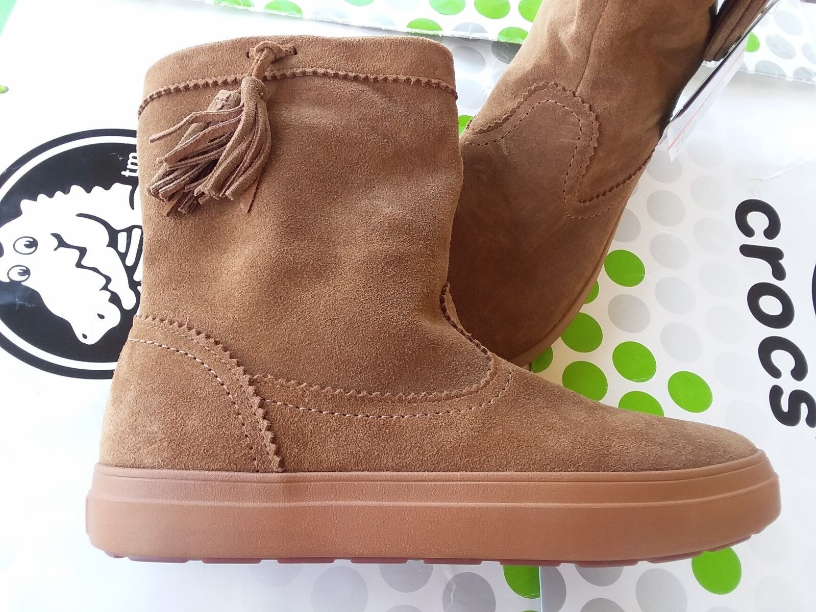 CROCS LODGEPOINT SUEDE PULL ON CROCBAND WINTER HIGH SNOW BOOT~Brown Tan~W 10~NWT