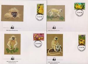 Bhoutan-1984-World-Wildlife-Fund-ENTELLE-Dore-Monkey-4-first-day-covers-131