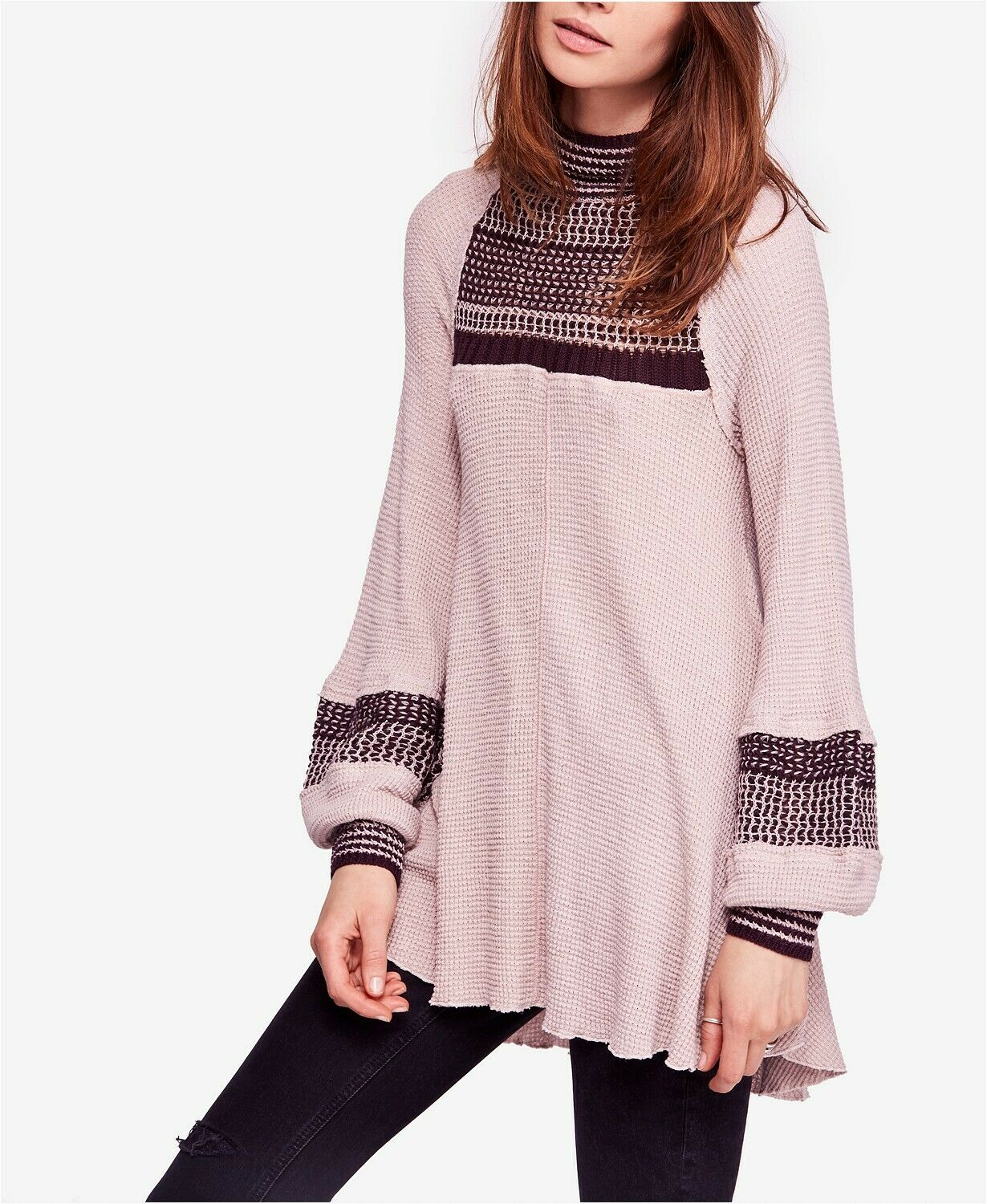 Free People Snow Day Turtleneck Thermal Top Dusty Mauve Größe S