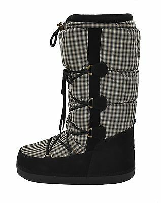 Moncler Black Leather Quilted Nylon Winter Snow Boots 38/39/40 New $430