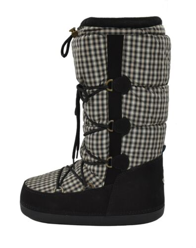 Moncler Black Leather Quilted Nylon Winter Snow Moon Boots 38/39/40 New $430